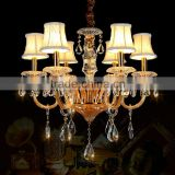 Champagne LED Crystal Chandelier Art Glass Chandeliers Hanging Pendant Lamp Light Lighting with Fabric Shades CZ3009/6