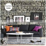 overstock printing pvc wallpaper, black funky letters wall paper for boys room , decoration wall decal maker