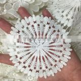 43yards GOOD QUALITY White Round shape soft Milk Silk Lace Fabric Wedding Trim wide :10cm