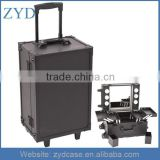 Professional Black Aluminum and PVC Rolling Makeup Case With Lights ZYD-HZMmlc010