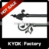 KYOK Muslim Style ceiling mounted double curtain rod,window cast iron accessories,curtain poles for Africa