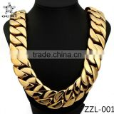 Factory Price hip hop jewelry 316l stainless steel 31mm silver gold heavy chain for men