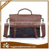 Hot Sale Retro leisure canvas and leather laptop bag and leather man bags/briefcase                                                                         Quality Choice