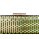 Alibaba China High Quality Green and Gold Metal Frame Box Clutch Bag Ladies