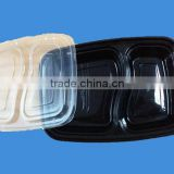 Disposable black plastic microwave rectangular food container
