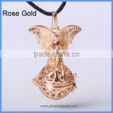 Wholesale Copper Angel Wings Cage Sound Bell Beads Harmony Pregnancy Necklace Pendants BAC-M008