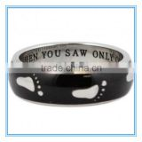 Footprints In The Sand Ring Black Enamel