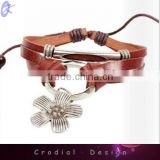 2013 Cheap Wholesale Alibaba Fashion Bracelet Leather Bracelets With Alloy Flower For Women