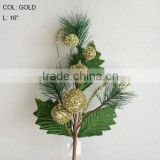 "2013 Hot Sale Artificial Christmas Flowers 16"" Artificial Plastic Glitter Ball Spray"