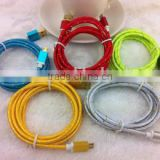 2014 colorful nylon Braided Aluminum Alloy Cover micro usb data cable from shenzhen factory