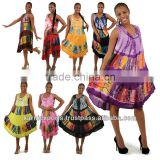 Women summer wear evening multi colored maxi gowns & umbrella dress with tie dye pattern