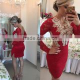 (MY2930) MARRY YOU Sexy Long Sleeve Lace Beadings Backless Short Red Cocktail Party Dress                                                                         Quality Choice