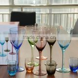 Wholesale handmade colored wine glasses/set of 6 colored wine glasses