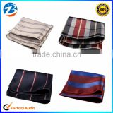Hot Sale Casual Polyester Silk Free Size Striped Mens Pocket Square