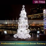 Customize 4m 5m 6m 7m 8m 10m large giant outdoor white LED christmas ball tree decoration