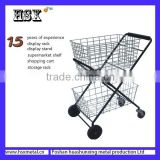 Portable wire double -layer folding tennis ball cart for gym HSX-019