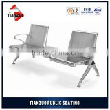 2 Seats with table stainless steel aluminium airport chair