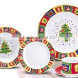 5PCS CHRISTMAS PATTERN CERAMIC STONEWARE DINNER SET WITH CUP AND SAUCER