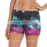 Brand clothes supplier gym wear stretchy all over sublimation print women fit yoga shorts