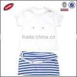 2014 new arrival cotton white plain shirt and blue striped shorts 2 pieces baby romper suit