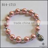 Natural Color Ladybird Charm Beautiful Color Beads Personalized Girls Boys Name Bracelet