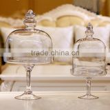Large hand blown home or wedding table centerpieces bell glass jars with long stem for food store