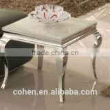 modern style square stainless steel marble top side/end table decoration