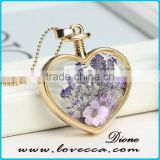 Transparent Heart Necklaces Pendant Gold Chain Necklace Dried flower 2017 Heart Locket Necklaces For Women