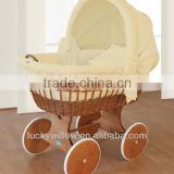 Comfortable wicker baby sleeping basket &bassinet with rocking stand