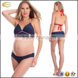 Halter neckline empire 2 Piece Lightly padded cups Underbelly fit bottom Maternity set Maternity bikinis woman swimwear 2016