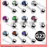 Titanium tongue ring shiny crystal tongue barbell piercing jewelry