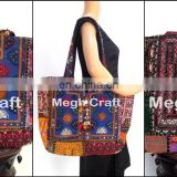 girls designer fringe leather shoulder bag- old banjara embroidery bag with mirror work.vintage bags and handmade