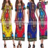 Women Traditional African Printed Dashiki Bodycon Dress Short Sleeve Long Dress COTTON Dashiki print African Dashiki dresses