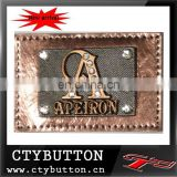 CTY066 shiny metal brown metal logo label for jeans