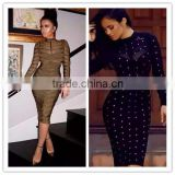 2016 women winter long sleeve dresss studded olive mesh high neck black pink gray bodycon knee-length bandage dress wholesale