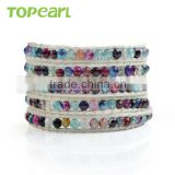 Topearl Jewelry Faceted Round Colorful Agate Fashion Bracelet Woven Leather Wrap Bangle 33.5 Inches CLL139