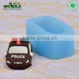 DIY Silicone police car Shape Soap Clay Mold Cake Chocolate Mould Silicone Decorating Mold