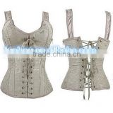 wholesale Junhou brand sexy corset top zipper brocade waist training cincher straps lace up body shaper