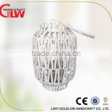 Beautiful white garden wicker lantern,wicker candle holders                                                                         Quality Choice