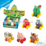Free Wheel Small Rubber Animal Toys with BB whistle