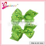 Brand promotion gift hair accessories nice clover ribbon bow hair clips for pretty girls (SYC-0042)