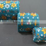 Blue colour beaded traditional handmade storage trunk box jewelry box multi utility box