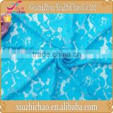 HG0550 2015 top quality flower pattern blue african cord lace fabric for garment decoration