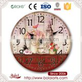 Retro red old desk Eiffel Tower design beautiful roses decoration wall clock for restaurant