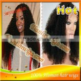 #1B Afro Kinky Curly Brazilian Virgin Human Hair Lace Front Wigs&Full Lace Wig With Baby HairFor Black Women