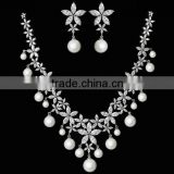 Platinum Plated Stylish Luxury Pearl Flower Bridal Necklace Set With AAA+ Cubic Zircon Micro Pave Setting for Women