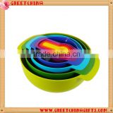 9 PCS Kitchen Colorful Bowls Food Prep Sieve Colander Spoon Measuring Cups Set                                                                         Quality Choice