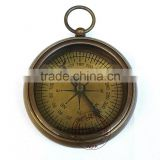 ANTIQUE POCKET COMPASS - BRASS FLAT COMPASS - NAUTICAL ANTIQUE COMPASS