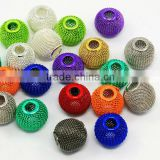 Iron Wire Mesh Beads, Inspired for Basketball Wives Earrings Making, Rondelle, Mixed Color, 16x13mm, Hole: 6mm(IFIN-B084-4-M-1)