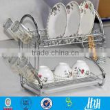 Chrome plated 2 Tiers Dish Drying Rack Drainer /Dryer Tray Kitchen for Cup Storage